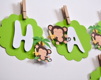 Banner Monkey, Monkey Party Decorations, Monkey Banner Baby Shower, Monkey Birthday Party, Custom Party Banners, Monkey Party Supplies