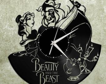 Beauty and the Beast Clock, Disney Clock, Beauty and the Beast Art, Disney Wall Decal, Unique Disney Clock Gift, Record Wall Clock
