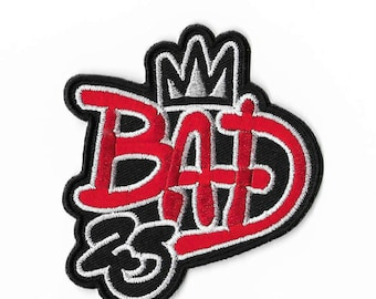 BAD 25th Anniversary Patch Michael Jackson Embroidered Iron on Badge Applique MJ King of Pop Costume Fancy Dress Cosplay DIY Jacket Vest Top