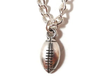 Silver Football Necklace, Football Charm Necklace, Sport Jewelry, Rugby Necklace, Teen Jewelry, Women's Jewelry, Pendant Necklace, Gift Idea