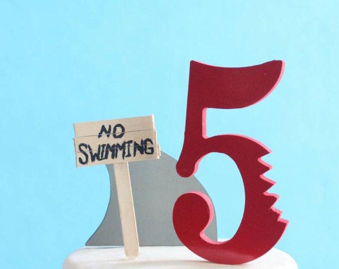 Featured listing image: Shark Cake Topper Kit, No Swimming, DIY Birthday Cake, overthetopcaketopper