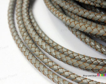 5mm Jewelry Making Leatherworking Gray Bolo Leather Cord, Woven Braided Leather Bracelet-1 Yard BP5M-88