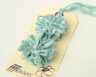 Flower Appliques in Seafoam Blue Ribbon, 2 inch, 5cm