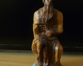 Vintage Judaica olive wood sculpture of Moses from Israel