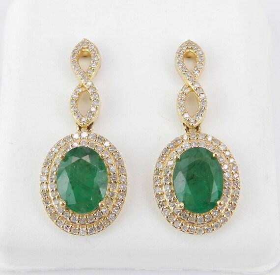 Diamond and Emerald Halo Earrings 14K Yellow Gold Dangle Drop Wedding Earrings