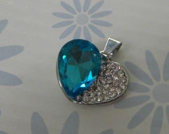 Transparent turquoise Rhinestone Heart pendant