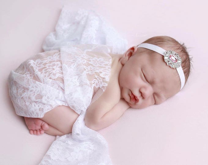 White stretch lace swaddle wrap and/or silver rhinestone headband for newborn photo shoots, bebe foto, baby swaddle, by Lil Miss Sweet Pea