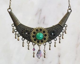 ABSINTHE necklace, tribal choker, purple gem, steampunk jewelry, vintage necklace, dance jewelry, gothic, tribal necklace, heavy metal