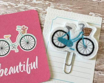 Bicycle with Basket Planner Clip Feltie Bookmark