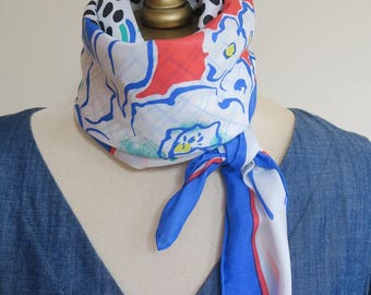 Square silk scarf, summer hair wrap, 80s silk scarf, ladies headscarf, blue scarf, floral,check, polka dot,bold carre, hand rolled