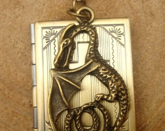 Antique Brass Dragon Locket Necklace Victorian Jewelry Gift Vintage Style