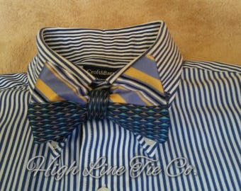 Split design bow tie.Silk bow tie.One-of-a-kind bow tie.Self-tie bow tie.Reversible bow tie
