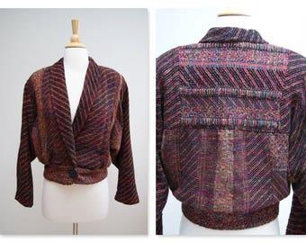 Vintage 1990s Batwing Sleeve Jacket Vintage 90s Woven Boho Jacket Soft Cropped Jacket