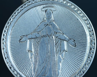 "Virgin Mary Vintage Silver Religious Medal Pendant May 1877 on 18"" sterling silver rolo chain"