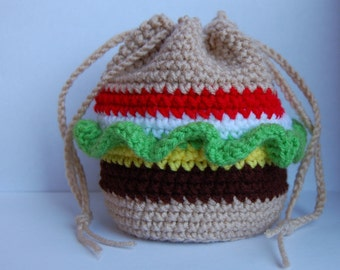 Crocheted Cheeseburger Purse