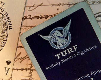 TURF 1930 deck of cards Vintage winged horse BLUE RARE Skillfully Blended Cigarettes  playing advertising antique Man Gift cool chic