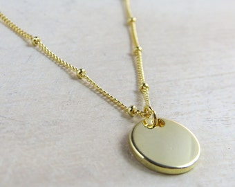 Gold disc necklace, minimalist necklace, Bridesmaid gift,everyday necklace,dainty necklace, 16K gold plated necklace personalized whimsies