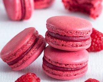6 Raspberry French Macaron