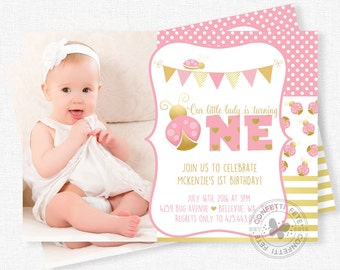 Ladybug Birthday Invitation, Pink and Gold Invitation, Pink Ladybug Invitation, Ladybug Party, Photo Invitation