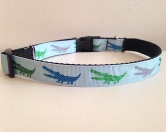 5/8 inch Green and Blue Alligator Medium Dog Collar