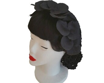 Glamouröse gotische schwarze Kopfstück Haare Haarnetz, Seide Blütenblätter mit Kopfband