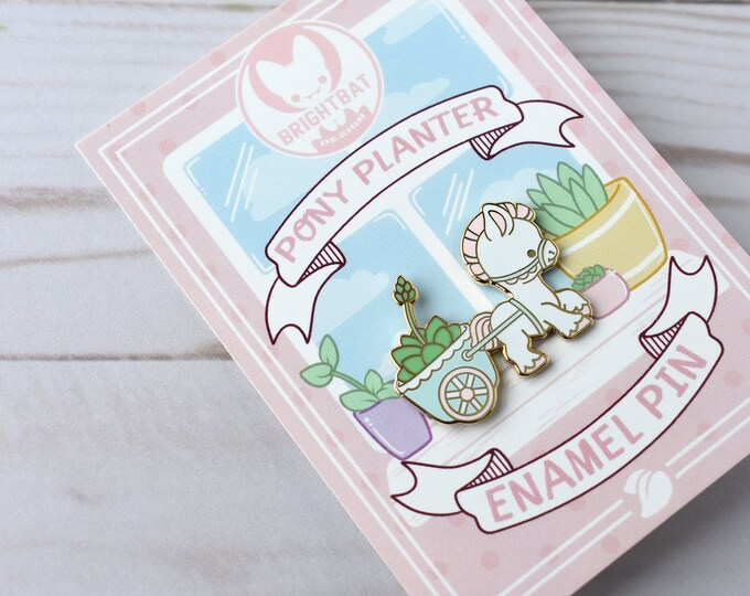 Featured listing image: Kawaii Pony Cart Planter Enamel Pin