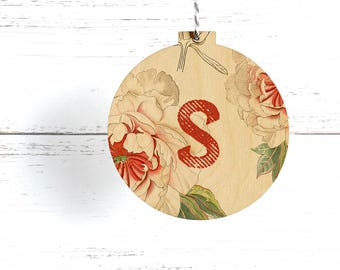 Monogram Christmas Ornament, Eco Friendly Decoration, Wooden Initial Ornament, Personalized, Modern Rustic Decoration, Wooden Name Ornament