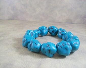 Chunky bracelet turquoise nuggets