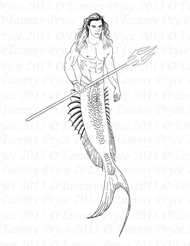 Fantasy Merman Adult Coloring Page Digi Stamp Instant Download Printable PDF Sold By TammyPryce 1 This Is A Digital File