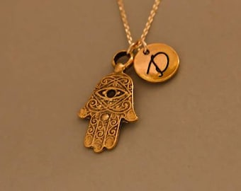 Gold Hamsa necklace pendant - Hamsa necklace - personalized infinity necklace - friendship jewelry - Monogrammed Necklace