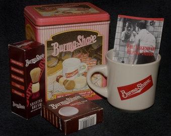Vintage Burma Shave Set - Mug, Brush, Soap, Booklet & Tin