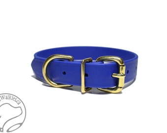 """Biothane Dog Collar / Royal Blue 1"""" (25mm) Wide Beta Biothane - Leather Look and Feel - Adjustable Custom Size - Stainless or Brass Hardware"""