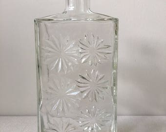 Vintage Starburst clear glass bottle -decanter-Whisky decanter 1960s-barware-stock the bar-mid-century modern-home-man cave-whiskey bottle