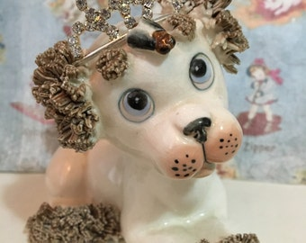 FREE WORLDWIDE SHIPPING Very Rare Vintage Princess Puppy with Tiara Figurine Collectible or Cake Topper