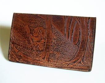 Leather Checkbook Cover - Leather Check Book Holder with Troll Design - IMMEDIATE SHIPPING