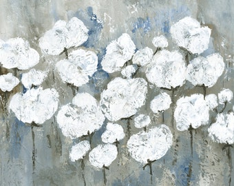 """Cotton Field Abstract canvas, painting, abstract art, 3/4"""" thick canvas print, Snowy Mississippi Summer"""