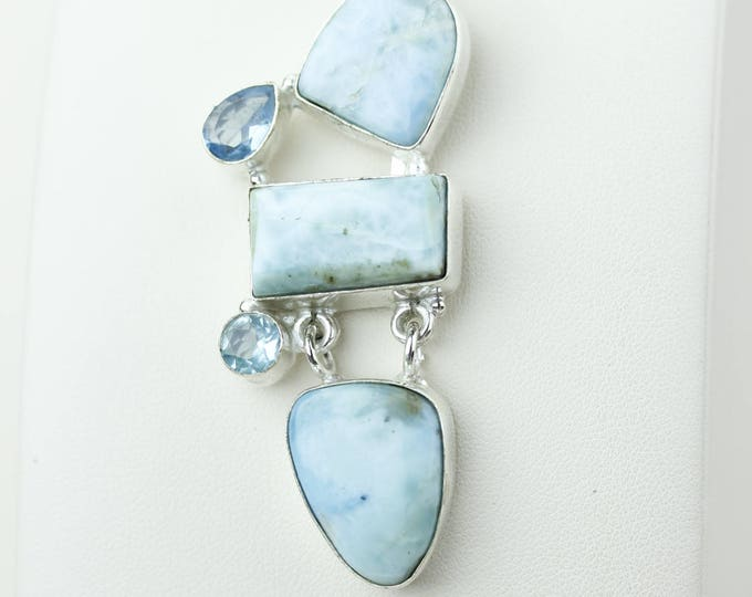 Best Deal! Larimar Swiss Blue Topaz 925 S0LID Sterling Silver Pendant + 4MM Snake Chain p4176