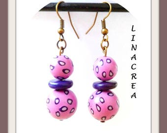 Cheetah pink and purple polymer clay earrings