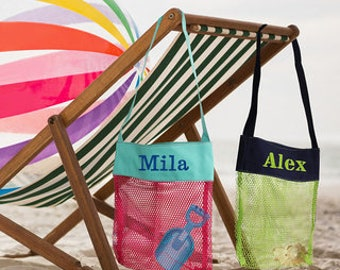 Seashell Bag/ Beach Toys / Personalized Shell Mesh Bag / Boys Girls / Bath tub organizer/ Pool Toy / Monogrammed Beach Bag/ Spring Summer