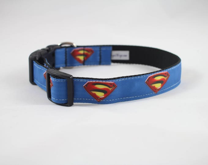 Superman dog collar,  super hero collar, DC comics dog collar, large collar, pet gifts, dog gear, pet accessories
