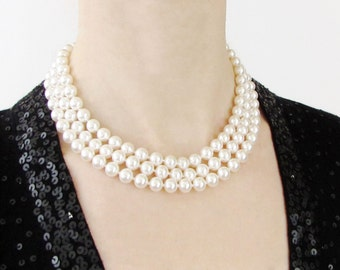 Hand Knotted Three Strand Pearl Necklace, Jackie Pearls, Multistrand Pearl Necklace, Hand knotted pearl necklace, Hand knotted swarovski