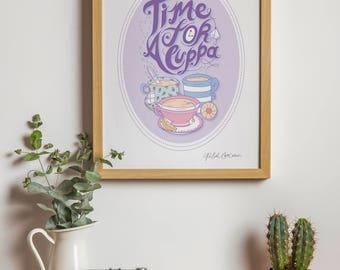 SALE - Biscuit and Teapot Illustration - Pencil Drawing - Kitchen Art - Food Illustration - Afternoon Tea - Cake - Pink