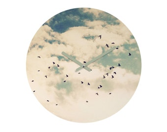Round Wall Clock. Unique Home Decor. Flying Birds. Bird Decor. Blue and White. Nature. Summer. Clouds Sky. Dorm Decor. Office Decor. Gift