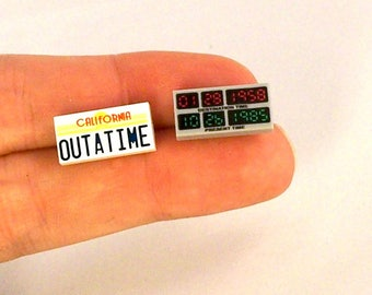 Back To The Future® Inspired Earrings *Last Pair* Fan Art Crafted With LEGO® Elements - Sterling Silver .925 Stamped Ear Wire