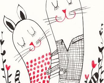 Dance of Love / ORIGINAL ILLUSTRATION / ink drawing / Love / Cute cats