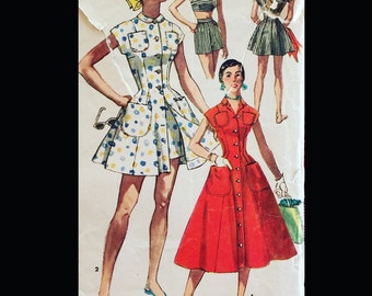 Vintage 50s Short Play Suit Playsuit Bra Top Princess Seam Coverup Button Front Dress Sewing Pattern 1200 B30