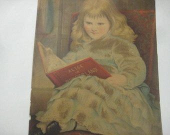 Victorian Girl Reading Alice in Wonderland, Large Chromolithograph Print, Augusta, Maine, 1880s, RARE