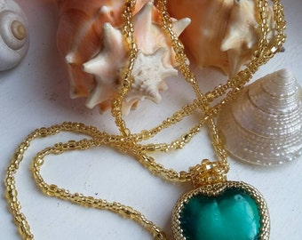 Gold Beaded Teal Heart Pendant Necklace
