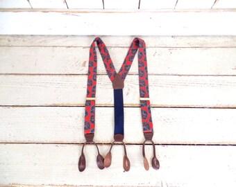 Vintage red/blue paisley button tab suspenders/cloth suspenders/paisley braces