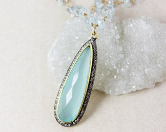 Aqua Chalcedony Teardrop Necklace – Blue Aquamarine Chain